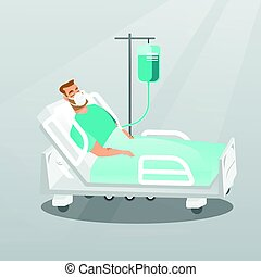 Patient lying in hospital bed with oxygen mask.