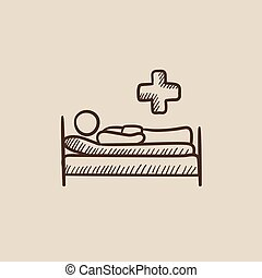 Patient lying on bed sketch icon. - Patient lying on the bed...