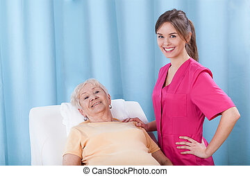 Patient lying on treatment couch