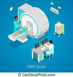 patient., médico, vetorial, scanner, imaging, mri, isometric...
