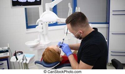 patient, machen, hygiene, kabinett, zahnarzt, behandlung,...