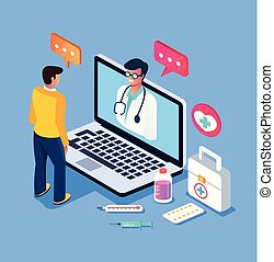 Patient man character calling doctor by internet computer pc. Online doctor consultation medicine concept. Vector design graphic flat cartoon isolated illustration