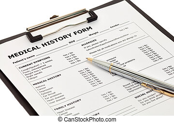 Patient medical history form with pen isolated on white...