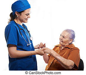 Patient old woman with doctor