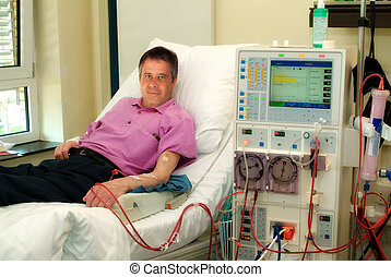 Patient on dialysis machine
