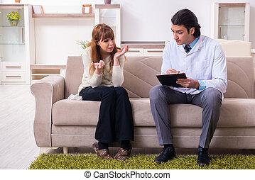 patient, personnel, jeune, psychologue, femme, mâle, discuter