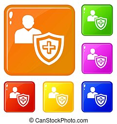 Patient protection icons set color