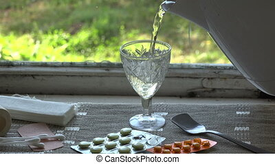 Patient putting medicine drops into glass water, 4K -...