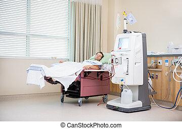 patient, rénal, dialyse, dormir, quoique, réception
