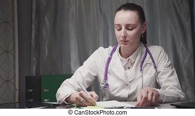 patient, record., fonctionnement, hôpital, marques, entrée,...