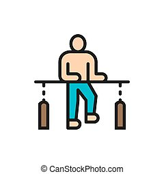 Patient recovery, physiotherapy, rehabilitation treatment flat color line icon.