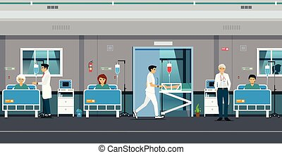 Total patient room with doctors and male nurses.