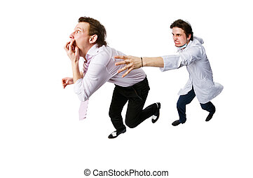 Patient running away from a doctor isolated on white