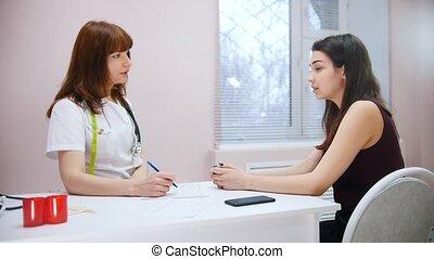 patient, séance, docteur médical, conversation, clinic., table, avoir