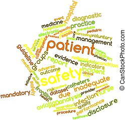 Patient safety - Abstract word cloud for Patient safety with...