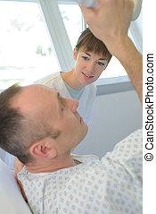 patient, salle, hôpital, conversation, personne agee, infirmière