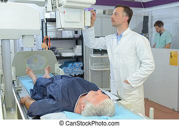 patient, scanner, durchmachen, doktor, weibliche , mann