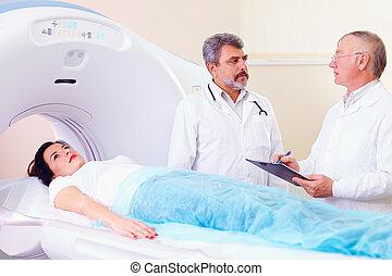 patient, scanner, zwei, vorbereiten, doktoren, verfahren, ct