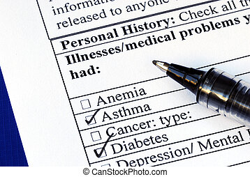 Patient selects the illness in the medical history section isolated on blue