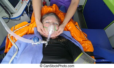 patient, service cas urgent, fournir, monde médical, ambulance, infirmier, soin senior