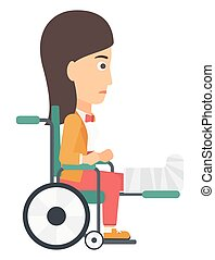Patient sitting in wheelchair. - A patient with broken leg ...