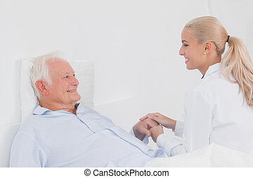 patient, tröster, senioren, doktor