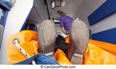 patient, urgence, fournir, monde médical, ambulance, infirmier, soin senior