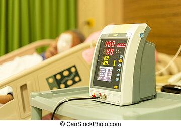patient, vérification, lit hôpital, pression, santé, sanguine, personne agee, care.