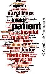 Patient word cloud concept. Vector illustration