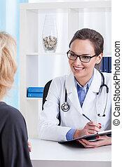 patient, während, medizin, verabredung