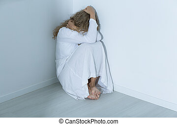 Patient with an anxiety disorder - Young mental hospital...