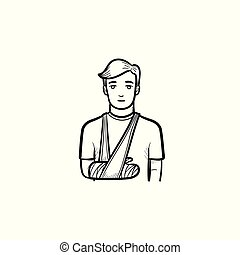 Patient with broken arm hand drawn outline doodle icon