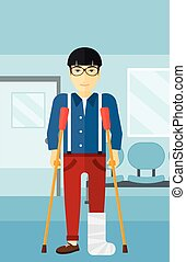 Patient with broken leg. - An asian injured man with broken ...