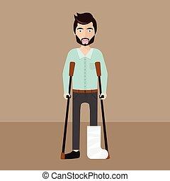 Patient with broken leg