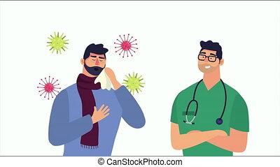 patient with covid19 symptom and doctor ,4k video animated