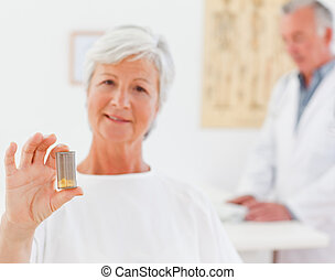 Patient with her pills