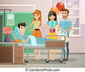 Patient With Visitors Illustration