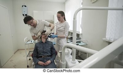 Patient woman at dentist
