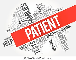 Patient word cloud collage, health concept background