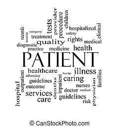 Patient Word Cloud Concept in black and white