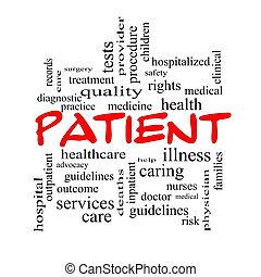 Patient Word Cloud Concept in red caps