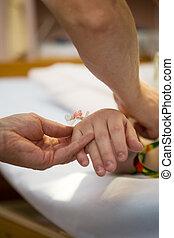 patienten, droppa, hand
