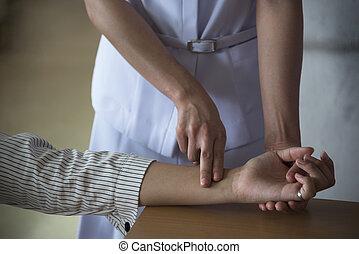 patienten, rate, zählen, krankenschwester, puls