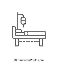 patientenbed, intensief, medisch, equipments, care, icon., reanimeren, lijn