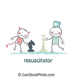 patientresuscitator, diable, jeux, brancard, échecs, resuscitator, porter