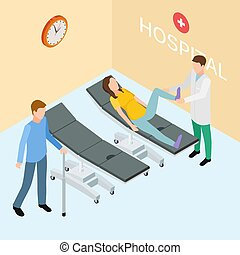 Patients and doctor on hospital. Isometric rehabilitation vector concept