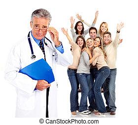 patients., docteur médical, heureux, gens