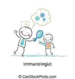 patient's, immunologist, förstorar, titta glas, genom, bakterie