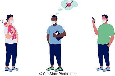 Patients in medical masks flat color vector faceless character set. Immune system boost. Anti vax. Health care isolated cartoon illustration for web graphic design and animation collection