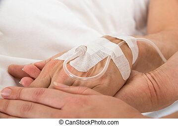 patient's, iv dryper, hand